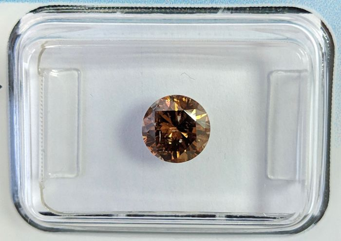Diamant - 1.00 ct - Briljant - fancy deep brown orange - IGI Antwerp - No Reserve Price, P1