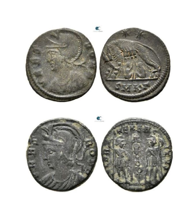 Römisches Reich - Lot comprising 2 AE coins, Constantine I (AD 307 - 337) - commemorative Series - VRBS ROMA