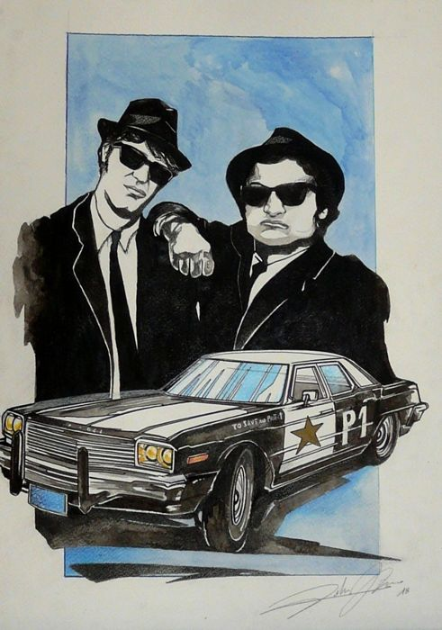 Original drawing by Federico De Muro - THE BLUES BROTHERS DODGE  - 2018 (1 items)