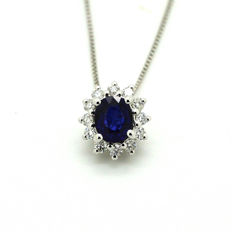 18 kt. White gold - Necklace with pendant - 0.39 ct Sapphire - Diamond