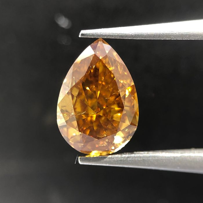 Diamond - 1.09 ct - Pear - Natural - fancy deep brown yellow - GIA Colored Certified