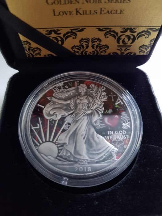 "USA - 1 Dollar 2018 Silver Eagle ""Love Kills "" Colorized & Antique Finish - With Certificate & Seal 1 Oz - Silver"