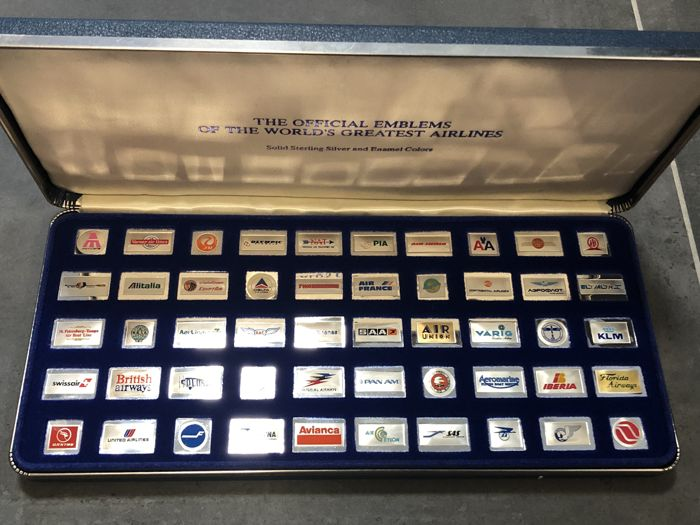 140 Gramm - Plata .925 - Franklin Mint 1981 World´s Greatest Airlines Color - Sello
