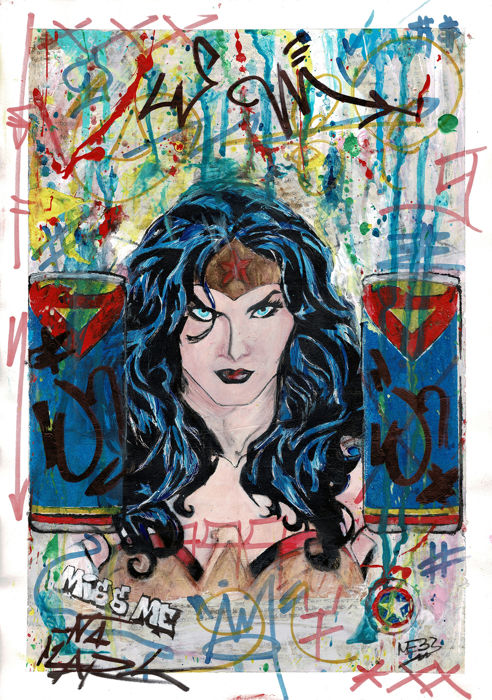 Wonder Woman II - Stencil Art Collection - Meb Dessin - Mixed Media Artwork