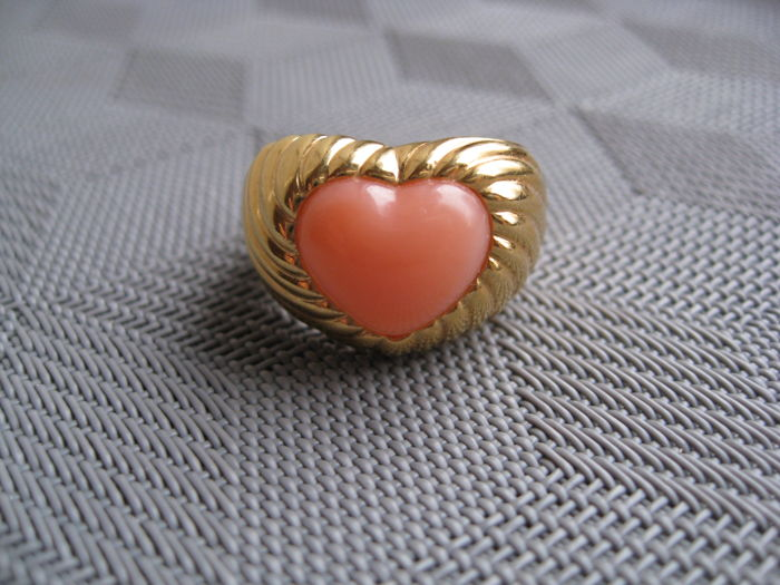 Korall - Coral Heart Ring 18 kt. 1980