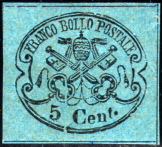 Pontifical State 1867 - 5 cents sky blue with transfer printing - Sassone N. 16a