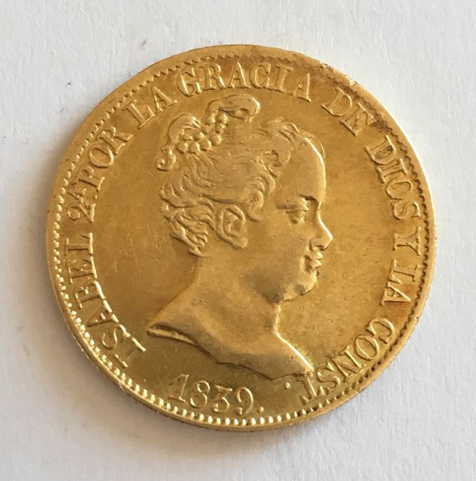 Spain - Barcelona - Isabel II (1833-1868) 80 Reales 1839 - Gold