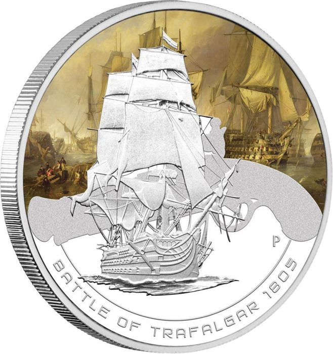 Cook Islands - 1 Dollar 2011 - Famous Naval Battles -  Battle of Trafalgar 1805 - 1 Oz - Silver