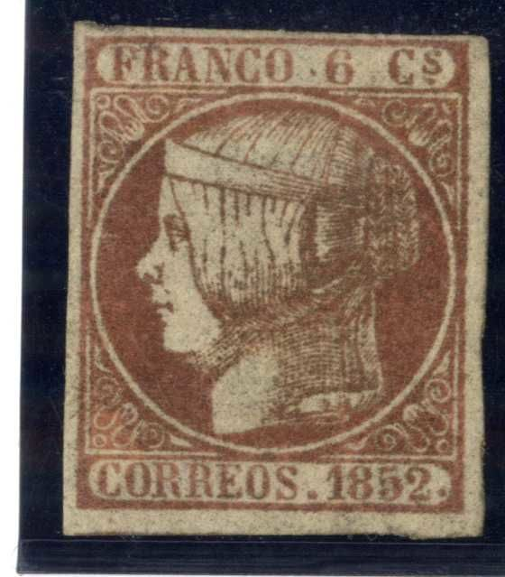 Spain 1852 - Isabella II. 6 cuartos pink. Thin oily paper variety. Comex certificate - Edifil 12p