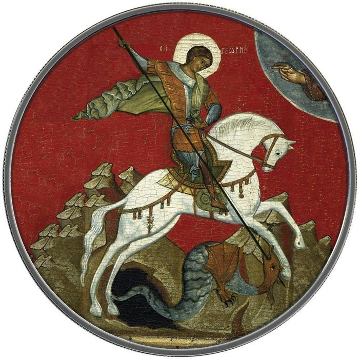 "Rusland - 3 Rubel 2009 -  Saint George ""Icon"" - 1 Oz - Zilver"