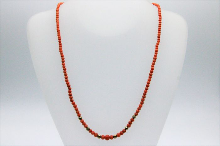 "8 kt. Yellow gold - Coral ""corallium rubrum"", Necklace Coral"