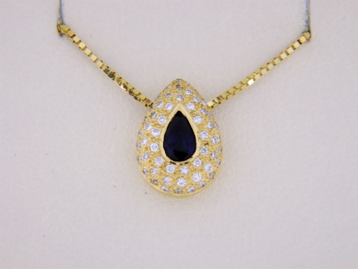 18 kt. Yellow gold - Necklace with pendant Sapphire - Diamond