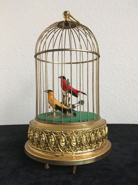 Singing bird Automatn in cage - Brass - Second half 20th century