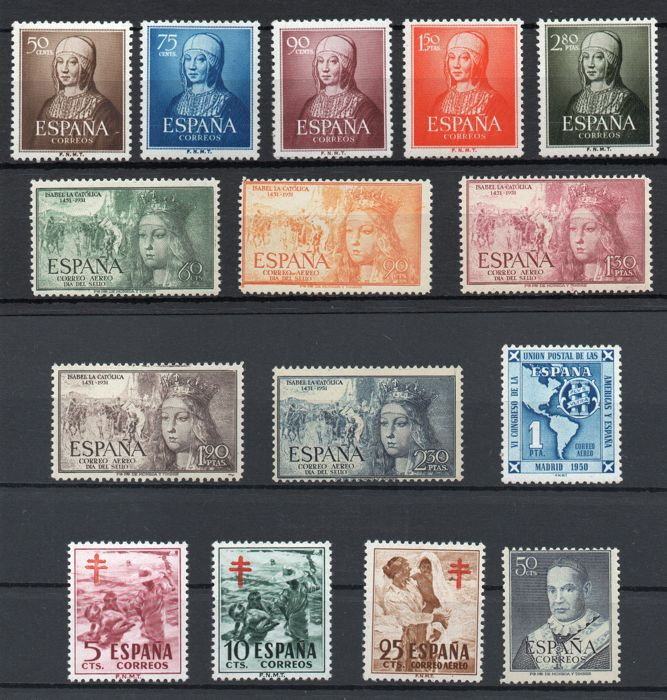 Spagna 1951 - Complete year (without 1088/89/90) - Edifil 1091/1105