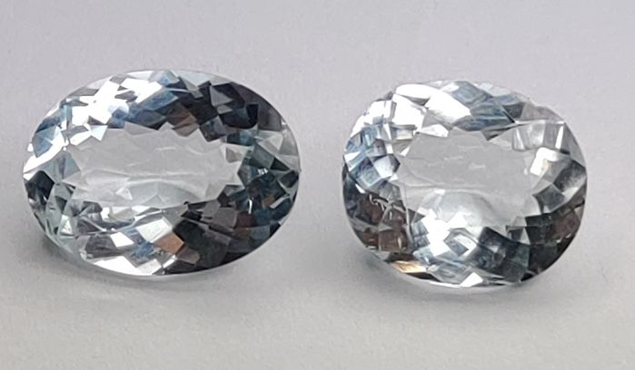 2 pcs Bleu Aigue-marine - 7.60 ct