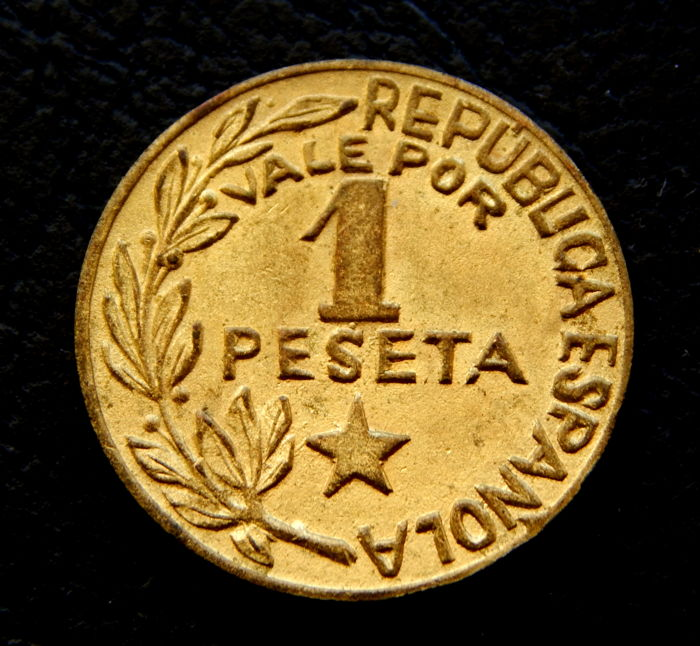 Spain - 1 Peseta 1937 - Guerra Civil - Menorca (Baleares) Escasa