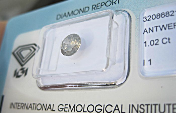 1 pcs Diamant - 1.02 ct - Briljant - P1