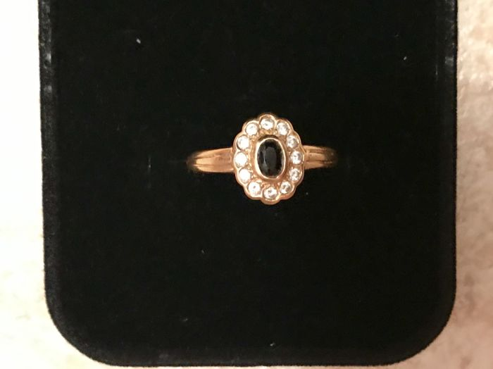 Ancienne Marguerite  - 18 kt. Gold - Ring Sapphire - Diamonds