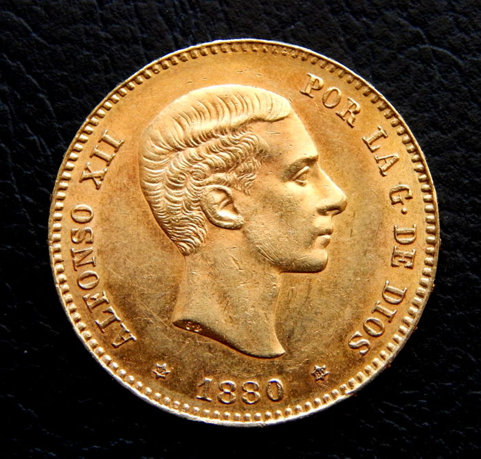 Spain - Alfonso XII - 25 Pesetas 1880 *18-80  MSM - Gold