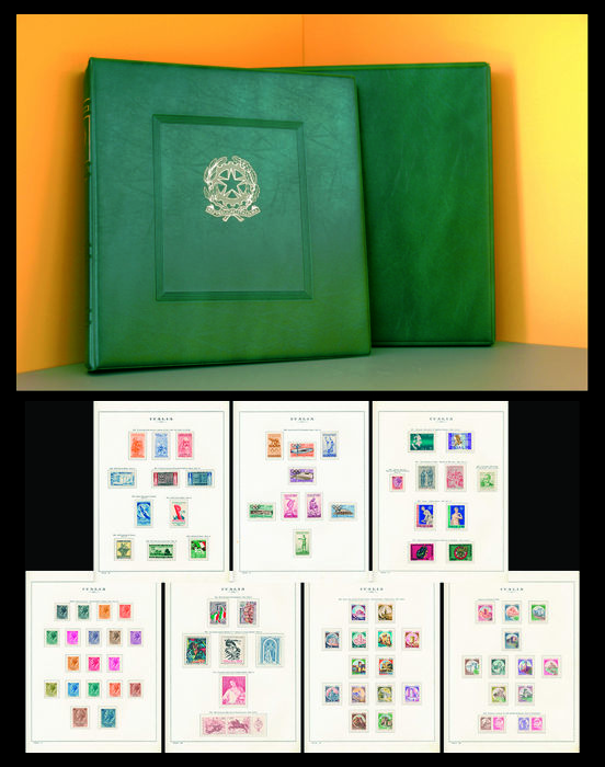 Italy Republic 1952/1980 - Complete collection of the period without Gronchi Rosa mounted on album with case and Marini sheets - Sassone dal N 682 al N 1544