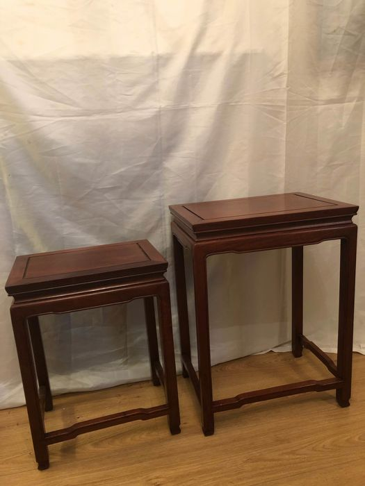 Two Chinese mahogany side tables - China - mid 20th century