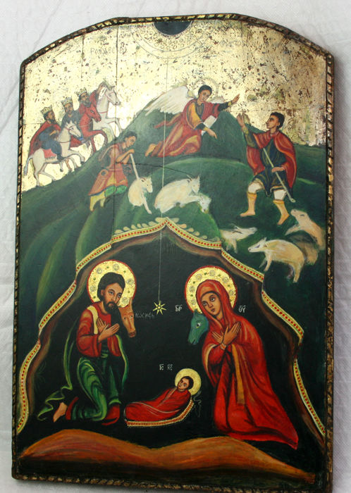 Icon, great: Nativity with adoration of the three kings - Wood, rare size 40 x 28 cm