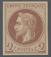 France 1862 - Napoleon III Lauré, print by Rothschild, 2c brown-red - Yvert 26Af