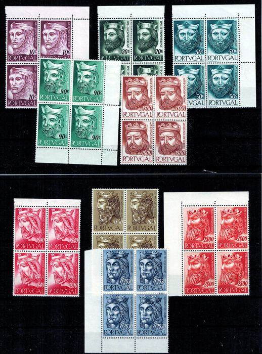 Portugal 1955 - Kings of Portugal complete series in blocks - Mundifil 806/814 Stamps for sale