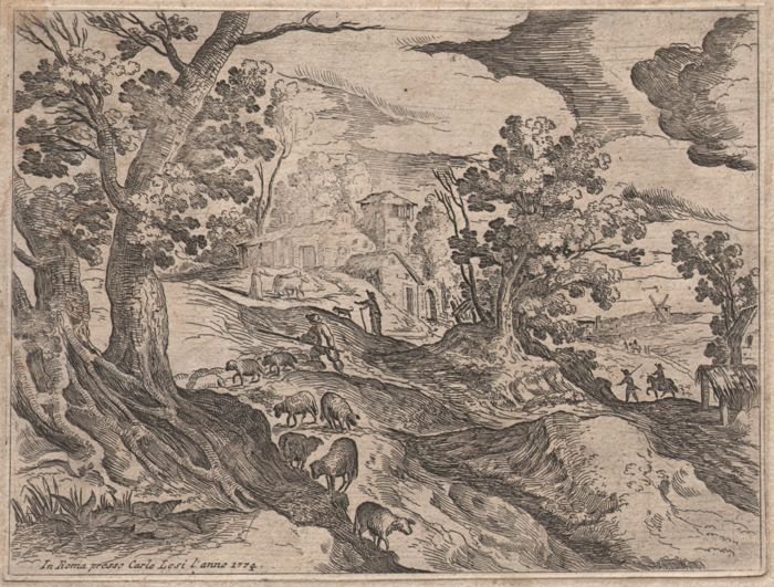 Paulus Bril (1554-1626)  - Rare landscape etching by Bril himself, published in Rome