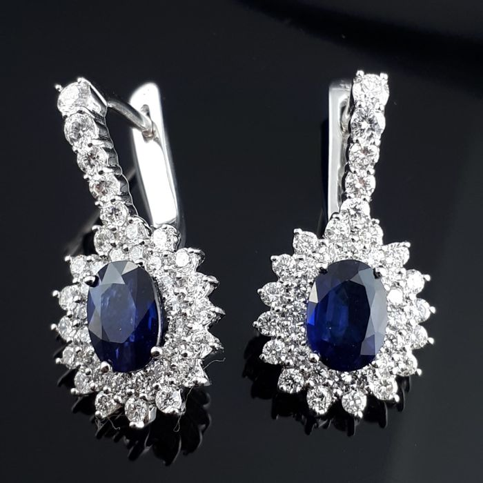 18 quilates - Pendientes - 2.10 ct Zafiro - Diamante