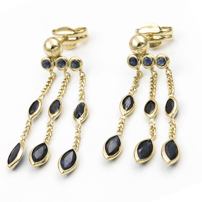 18 kt. Gold - Earrings - 2.00 ct Sapphire