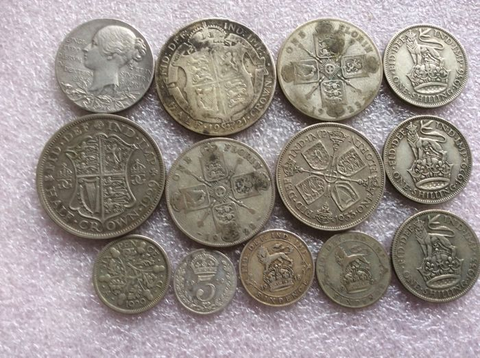 Great Britain - 3 Pence up to and including ½ Crown 1912/1936 + Medal 1837 (total 13 pieces)  - Silver