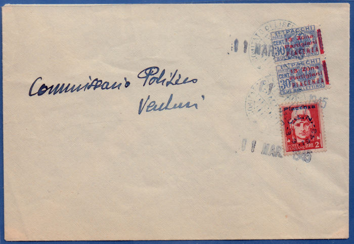 Italy 1945 - Postal history - Piacenza 3v on envelope cancelled - C.L.N. local validated 27/11