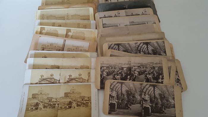 Original Antique XIX siecle Stereoscope's pictures Lot of 22 3D stereo pictures