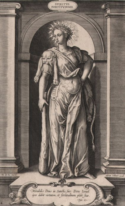 Adriaen Collaert (1560-1618) - The spirit of strenght - Woman in Hercules dress - First state