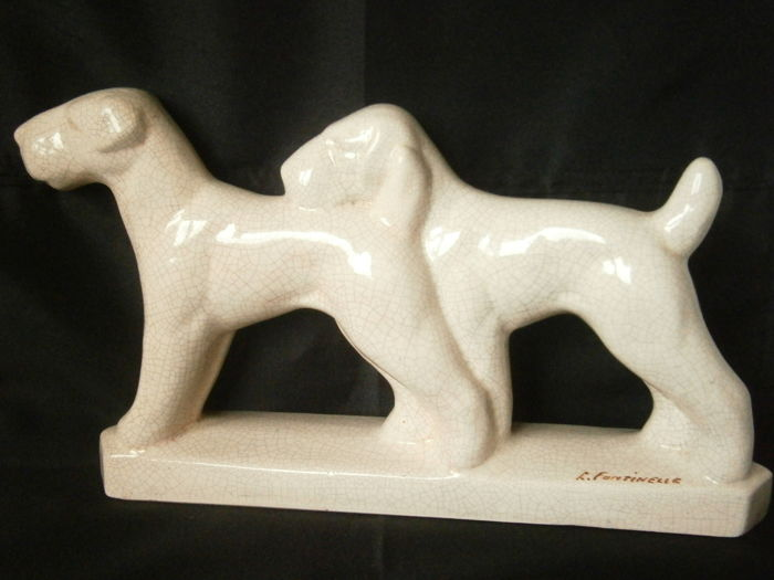 LOUIS FONTINELLE - Figurine Art Deco Crazy Fox Terrier (1)
