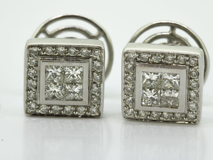 18 carats Or blanc - Boucles d'oreilles - 1.60 ct Diamant