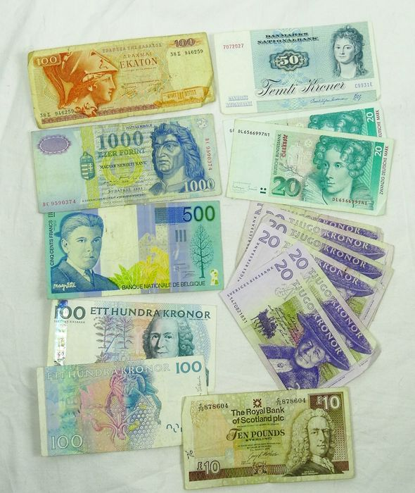 World - Europe - 15 banknotes from various countries 1972-1999