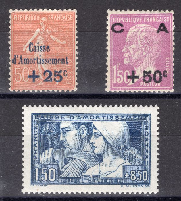 France 1928 - Three stamps 'Caisse d'Amortissement' mint** - Maury 250 à 252
