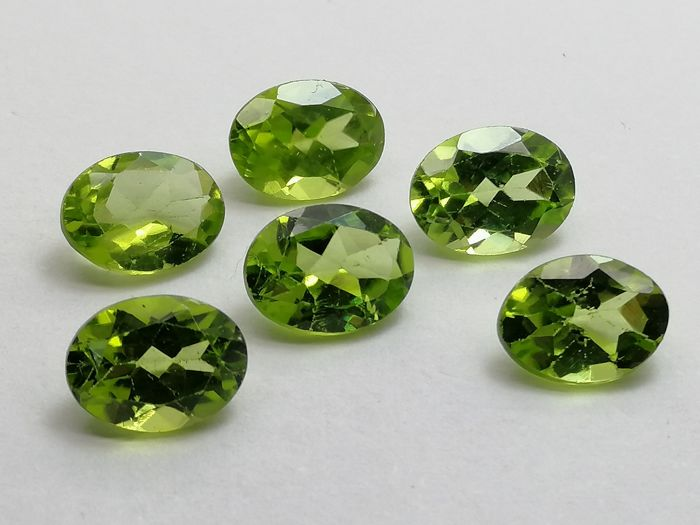 6 pcs  Olivijn - 7.26 ct