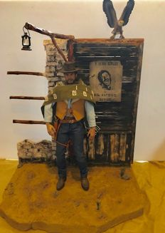 Man with no Name - Clint Eastwood - Fleer Ultra, MAC Parts - 1:6 - Έργο τέχνης Diorama