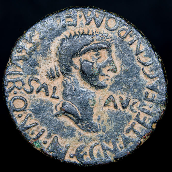 Roman Empire - Hispania. Cartagonova (Cartagena, Murcia). AE As, Caligula and Caesonia (A.D. 37-41). Rare