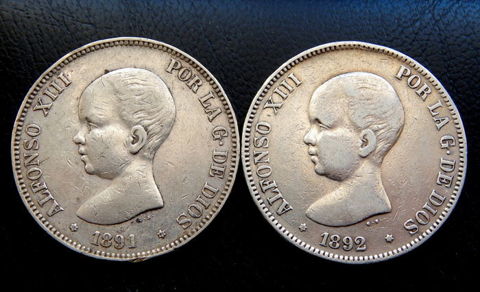 Spain - 5 Pesetas  1891 & 1892 - Alfonso XIII - Silver