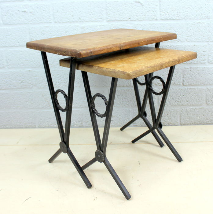 Two Vintage Wrought Iron Side Tables   Iron And Oak