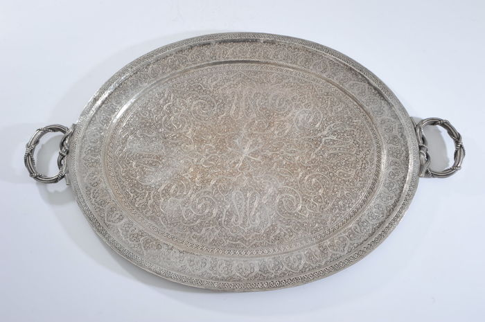 Dienblad - Verzilverd - Tray from India silverplated - India - Midden 20e eeuw