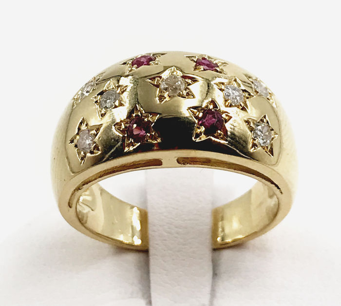 18 kt. Gold - Ring - 0.42 ct Diamond - Ruby