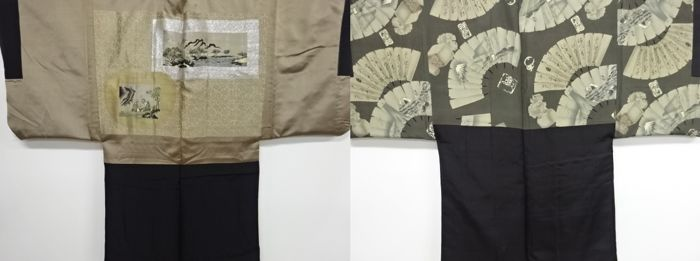 Kimono (2) - Silk - Vintage haoris with ancient characters and landscape patterns - Japan - mid 20th century