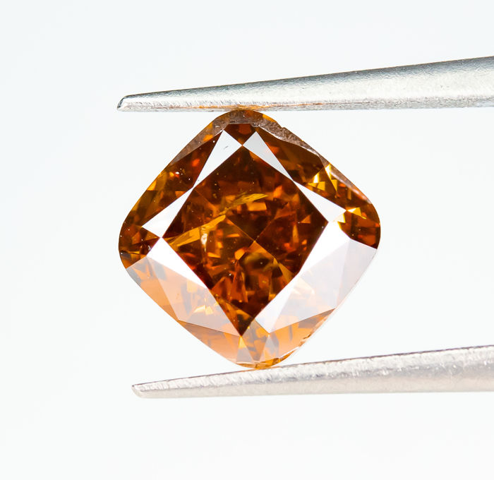 Diamant - 1.34 ct - Natural Fancy VIVID Orange - SI2