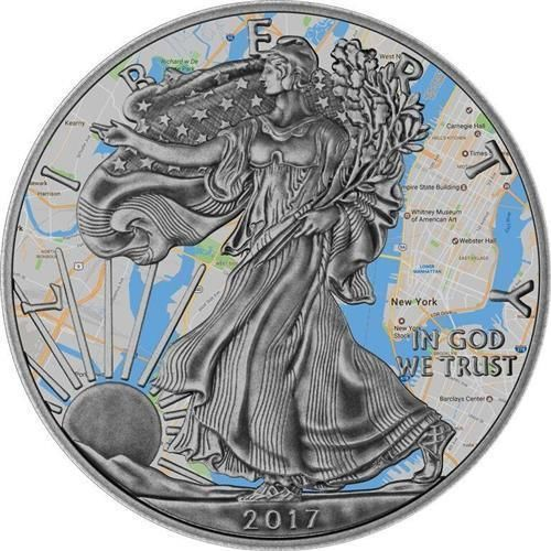 "VS - 1 Dollar 2017 Silver Eagle ""New York"" - 1 Oz - Zilver"