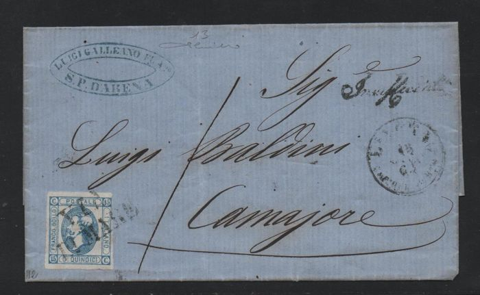 Italien Königreich 1863 - 15 cents azure, 2nd type on letter from S. Pier D'Arena to Camaiore with 'VIA DI MARE' cancellation - Sassone N. 13
